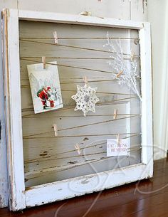 Sunnybrook Farm Designs - old window into postcard or photo holder - via Remodelaholic