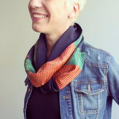 Upcycled Vintage Neckties Infinity Scarf blue, orange and green.