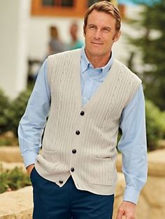 John Blair Cable Knit Sweater Vest - <p> Essential layering pieces that feel great and are a cinch to coordinate with nearly anything! Relaxed fit, five-button front, roomy pockets. Cab