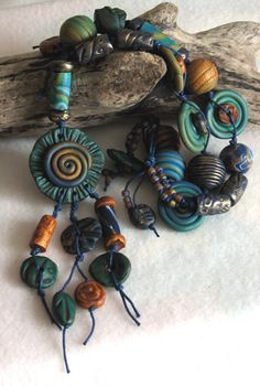 Green, blue and Gold Spiral Pendant Necklace | Flickr - Photo Sharing!