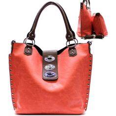 Buy New: $41.99: Metal Studs / Lock Closure Purse and Bag / Handbag / Bag in Bag/ Coral / Rchja2513col