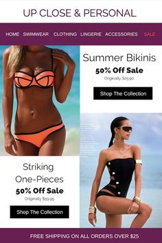 b27d0ca11723a Bikinis and One-piece Swimsuits on sales 50% off. Styles for the woman