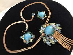 EXQUISITE! D&E Juliana HUGE AQUA BLUE OPALESCENT Glass FRINGE Necklace&Earrings #Juliana