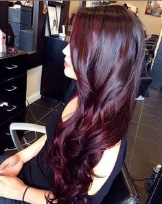 Intense dark red hair color style