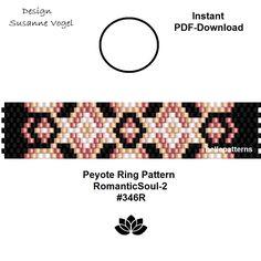 peyote ring pattern,PDF-Download, instant download,ring #346R, RomanticSoul,2 variants, beading pattern, beading tutorials, ring pattern,pdf von bellepatterns auf Etsy