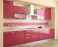 Cocina moderna rosada
