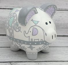 Items similar to Personalized Piggy bank, Blue Elephants artisan hand painted ceramic bank ~ Blue and Brown elephants on Etsy Personalized Piggy Bank, Personalized Gifts, Baby Piggy Banks, Pirate Bandana, The Little Couple, Cute Piggies, Hand Painted Ceramics, Baby Boutique, Baby Shower Gifts