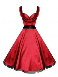 Utsvingt rød kjole i sateng. Svart tyllkant nederst. Hjerteformet utringning. Svart bånd rundt midjen. Diskre V-utrigning med krage bak. Glidelås i siden. Passer utmerket sammen med langt underskjørt. Kjøpes seperat. Underskjørt med lengde på 60 cm vil matche kjoles lengde mens underskjørt med lengde på 65 cm vil komme nedenfor kjolen.  - Lengde fra skulder 100 cm  - Stoff 100% polyester  - Plagget er normal i størrelsen.