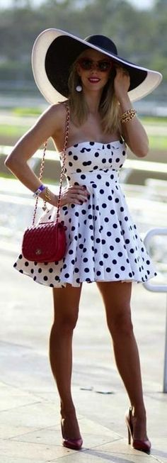 White black Polka Dotted DRESS + big hat + red purse + handbag + high heels + fashion + STYLE + clothes + spring + summer make this outfit best for you :) click the photo