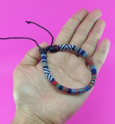Variegated Hemp Handmade Friendship Bracelet Anklet Wristband Thai Hmong Woven Fabric Blue Red by LuxuryFay on Etsy