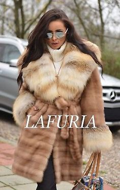 NEW PASTEL SUPERIOR SAGA MINK FUR COAT FOX CLAS OF SABLE CHINCHILLA JACKET LONG