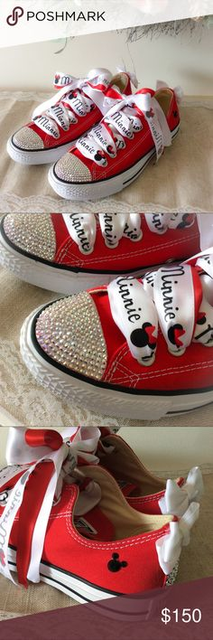 Swarovski Crystal Disney Minnie Mouse Converse NWT Custom made! Hundreds of genuine Aurora Borealis Crystal cover and front and heel of Hess super cute Disney Fan Minnie Mouse Cherry red Converse All Stars. Adorable white bows on the back and crystal Mickey heads on each side. Minnie Mouse Tri color ribbon laces. These are AMAZING!!! If you are going to Disney these are a MUST HAVE! Pair them with your Lularoe Disney Collection Leggings and have a blast! Converse Shoes Sneakers