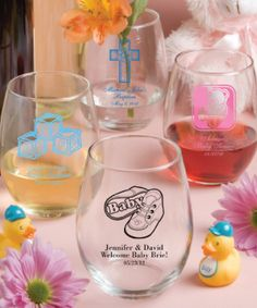 Make the most of your toast with these personalized 15 ounce stemless wine glasses from our Silkscreened Glassware Collection Available from Lady Slipper Stationery $2.25 and up
