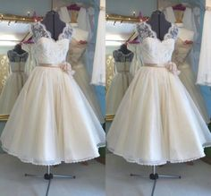 Vintage 1950's Tea Length Wedding Dresses A Line Bridal Gowns Plus Size Custom