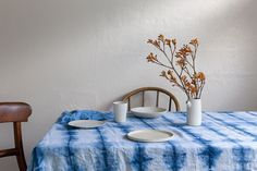 Shibori Linen Tablecloth hand dyed with Natural Indigo Eco friendly by BindandFold on Etsy Textiles Techniques, Linen Tablecloth, Fun Projects, Project Ideas, Shibori, Indigo, I Shop, House Design, Trending Outfits