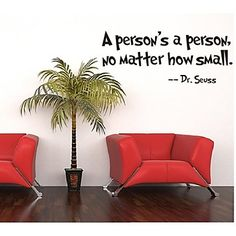 A Person's a Person, No Matter How Small Quote Wall Decal Zooyoo8077 Decorative  Removable Vinyl Wall Sticker - USD $ 2.99