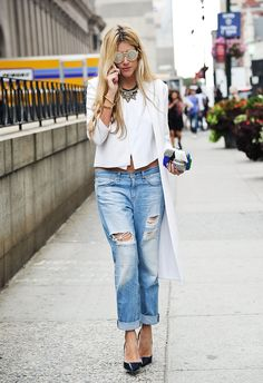 Ripped Denim in street style at New York Fashion Week Spring 2015.