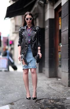 20 Modern Ways to Style a Denim Skirt for Spring - ripped denim skirt with a leather jacket and pointy pumps