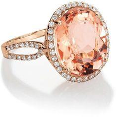 (via Peach Wedding / Blue Nile Morganite and Diamond Ring in 14k Rose Gold … bluenile)