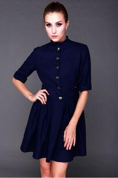 Short sleeve one piece dress,made of woolen textile,with stand collar,button fastening front$122