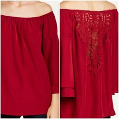 """Va Va by Joy Han ! Gorgeous """" Georgina """" Blouse !  Va Va by Joy Han ! This is one of my favorites ! Called """" Georgina Off-The-Shoulder Blouse ! Color is Wine ! Long 3/4 length sleeves with layered cuffs ! Back is crocheted with cut-out detail ! This part is beautiful ! Rounded hem ! 100% polyester ! Lined except for back crocheted part !  Va Va by Joy Han Tops"""