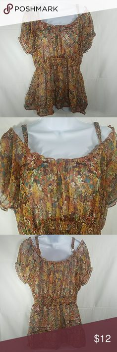 Ametican rag boho gypsie hippie shirt size 0x refer to photos , American Rag Tops Tees - Short Sleeve
