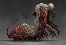 ArtStation - Acolyte of the Caul, mike franchina Dark Fantasy Art, Fantasy Kunst, Monster Concept Art, Fantasy Monster, Monster Art, Horror Monsters, Cool Monsters, Creature Concept Art, Creature Design
