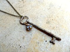 Antique Key Necklace, Skeleton Key, Key Charm Necklace, Old Key Pendant, Vintage Key, Rhinestone Key, Up cycled key, upcycled Jewelry
