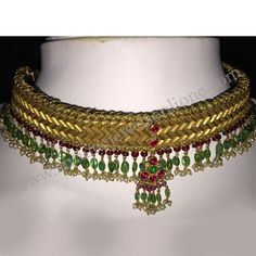 "Modified Old ""W"" Necklace Added Emerald, Ruby and pearls,   WEIGHT :  (Without thread) 40.4 grams (With thread)     52.2 grams"