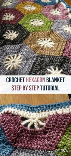 Crochet Hexagon Baby Blanket Step By Step Tutorial: Photo Jacqueline1970 #crochet #crochetlove #baby #blanket