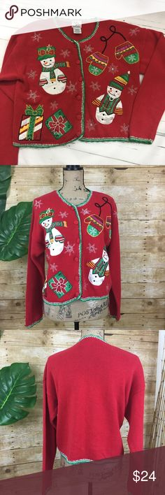 """📍Price Drop📍Christmas Sweater Christmas sweater! Just in time for those ugly holiday sweater parties! Sweater is button down with snowmen, gift boxes and snowmen designs.  Size Medium. Approx measurements: (flat lay) - Pit to pit: 21.5"""", Length shoulder to hem: 19.5""""                                                                 🌲Open to reasonable offers 🌲 Nut Cracker Sweaters"""
