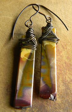 Matched Mookaite Stone Earrings Rustic Copper by ChrysalisToo