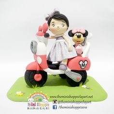 POLYMER CLAY CUSTOMIZED CAKE TOPPER LITTLE GIRL ON A MINNIE MOUSE BIKE Polymer Clay Cake, Clay Art, Cake Toppers, Little Girls, Minnie Mouse, Bike, Bicycle, Baby Girls, Bicycles