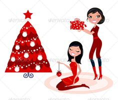 Christmas party girls decorating christmas tree graphicriver women
