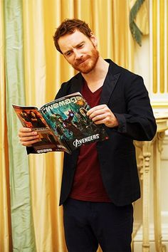 Michael Fassbender and an Avengers magazine (: great combo