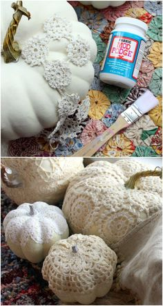 Pretty crocheted covered pumpkins with Mod Podge