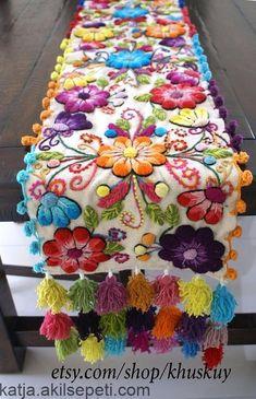 Decorative Pillow Peruvian Pillow covers Hand embroidered flowers 16 x 16 Sheep & alpaca wool handmade Set of 2 Cream Hand Embroidery Flowers, Hand Embroidery Designs, Floral Embroidery, Embroidery Stitches, Embroidery Patterns, Embroidered Flowers, Mexican Embroidery, Christmas Runner, Bed Runner