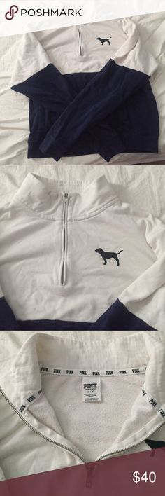 Victoria secret half zip Blue and white half zip pull over size medium PINK Victoria's Secret Jackets & Coats