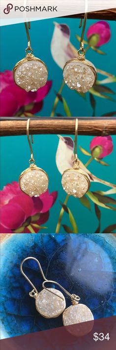 Handmade Blush Druzy earrings Handmade 15k gold fill wire wrapped Druzy earrings in soft blush. Trendy and perfect for every day. Matana Jewelry Earrings