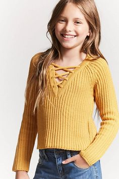 Product Name:Girls Ribbed Knit Lace-Up Sweater (Kids), Category:girls_tops, Price:15.9