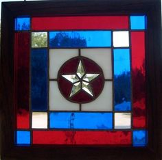 Stained Glass Clear Beveled Texas Star in a Red, White and Blue Panel, with a Oak Frame at Jitter Beans Mineral Wells, TX