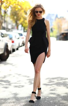 High-slit black dress.