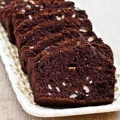 Recipe for Low Sugar and Whole Wheat Chocolate Zucchini Bread from Kalyn's Kitchen  #LowGlycemicDesserts