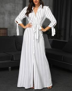 Beauty is in the details  Shop link in bio or search www. Striped Dress Outfit, Striped Maxi Dresses, Casual Dresses, Fashion Dresses, Kurta Neck Design, Frock Design, Maxi Shirt Dress, Trend Fashion, Indian Designer Outfits