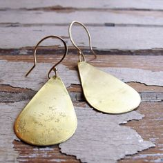 Rain Drops Hand Forged Brass Teardrop Earrings by Tangleweeds