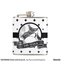 DRUMMER Flask with Drum Kit Graphic Baterista Gift