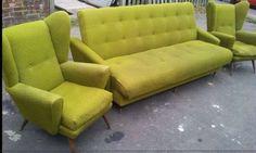 Vintage-Retro-Sofa-bed-Matching-Pair-Of-Wingback-Armchairs Wingback Armchair, Armchairs, Sofa Bed, Couch, Retro Living Rooms, Retro Sofa, Living Room Furniture, Retro Vintage, Home Decor