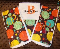 Bubbles and Circles Themed Boutique Burp Cloth Set by Just Being Frilly