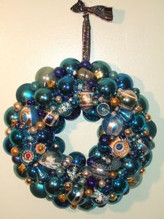 "vintage handmade christmas ornament wreath blue 17.5"" glass shiny brite holiday"