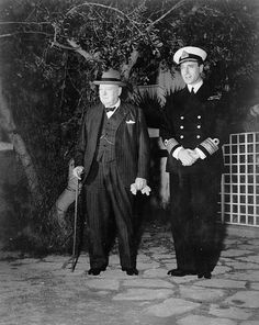LC-USZ62-138464: Casablanca Conference, January 14-24, 1943. Prime Minister Winston Churchill and Vice Admiral Lord Louis Mountbatten, Chief of Combined Operations, take a stroll between conferences with President Roosevelt and American officers at Casablanca. Office of War Information Photograph.